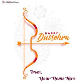God Shri Ram Festival Happy Dussehra Celebration Hindu Best Wishes Photo With Your Name Whatsapp Status Sending Pictures Download Free, 2021 Happy Dussehra Unique Images Editor Name Option.