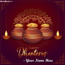 Happy Dhanteras Greeting With Name Cards