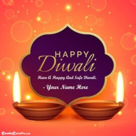 Diwali Message Best Wishes Photo Card With Name Write